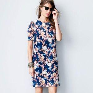 J Crew 100% silk floral shift dress sz 0